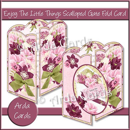 Enjoy The Little Things Scalloped Gatefold Card Making Kit - The Printable Craft Shop