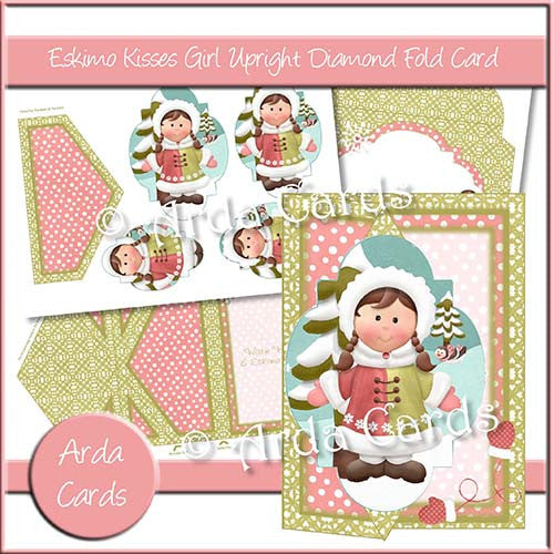Eskimo Kisses Girl Upright Diamond Fold Card - The Printable Craft Shop