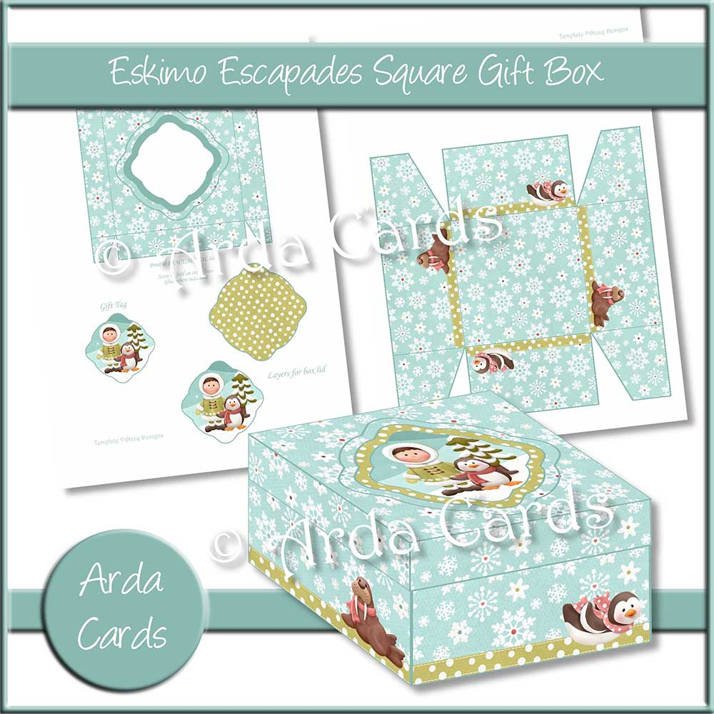 Eskimo Escapades Square Gift Box Printable
