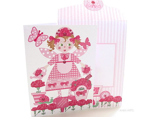 January Birth Flower Fairy Printable Card Making Kit