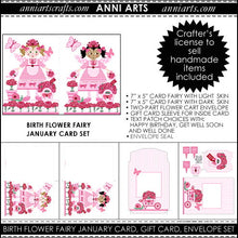 Load image into Gallery viewer, January Birth Flower Fairy Printable Card Making Kit