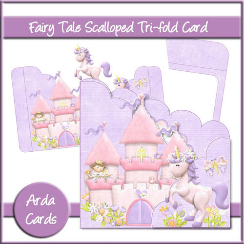 Fairy Tale Scalloped Tri-Fold Card - The Printable Craft Shop