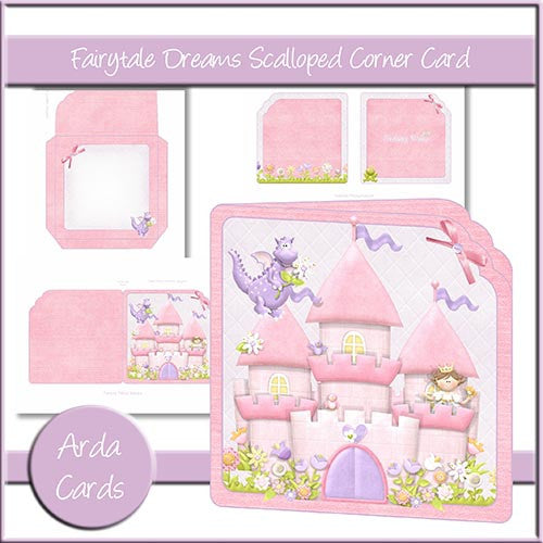 Fairytale Dreams Scalloped Corner Card - The Printable Craft Shop