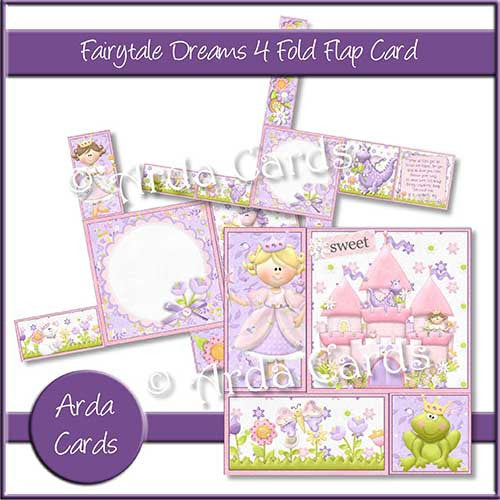 Fairytale Dreams 4 Fold Flap Card - The Printable Craft Shop - 1