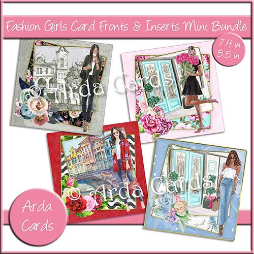Fashion Girls 7.4in & 5.5in Card Fronts & Inserts Mini Bundle