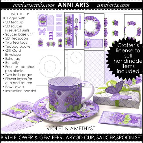 3D Teacup, Saucer and Spoon - February Birth Flower & Gem Printables