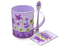 Load image into Gallery viewer, 3D Mug & Latte Spoon Set - February Birth Flower & Gem Printables