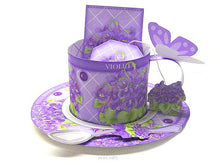 Load image into Gallery viewer, 3D Teacup, Saucer and Spoon - February Birth Flower & Gem Printables