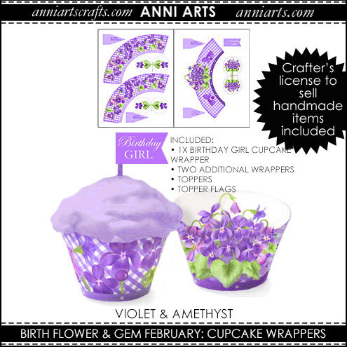 Cupcake Wrappers & Toppers  - February Birth Flower & Gem Printables