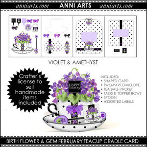 Cradle Teacup Card, Envelope & Tea Bag Packet - February Birth Flower & Gem Printables