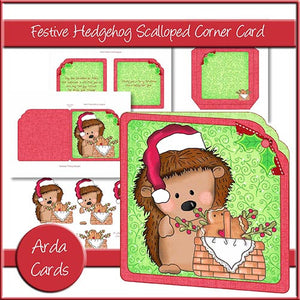 Festive Hedgehog Scalloped Corner Card - The Printable Craft Shop