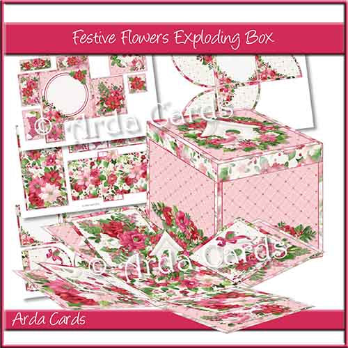 Festive Flowers Exploding Box Printable
