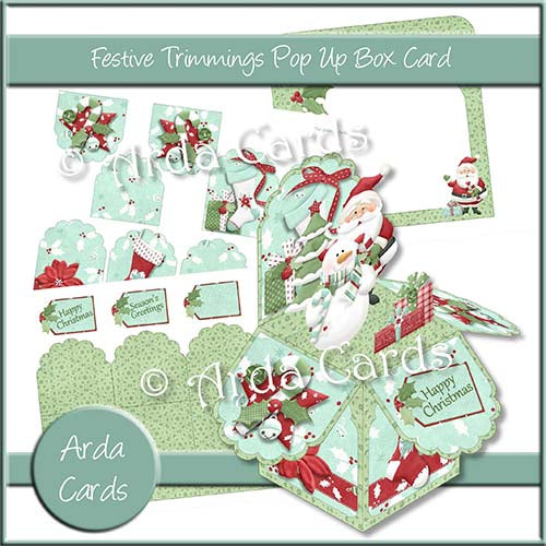 Festive Trimmings Pop Up Box Card Printable