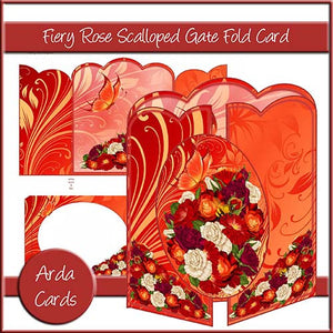 Fiery Rose Scalloped Gatefold Card - The Printable Craft Shop