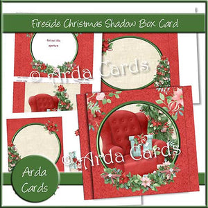 Fireside Christmas Shadow Box Card - The Printable Craft Shop