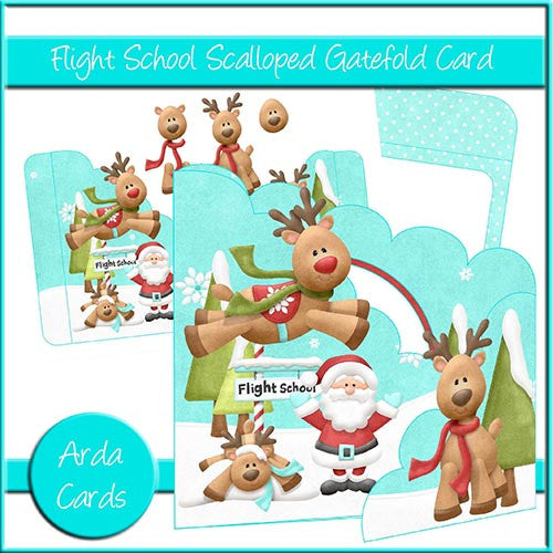 Flight School Scalloped Gatefold Card - The Printable Craft Shop