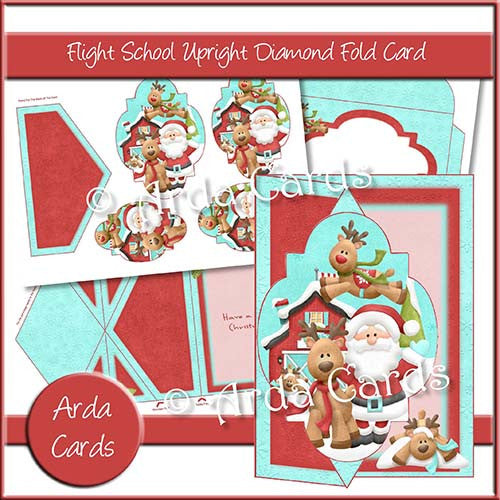 Flight School Upright Diamond Fold Card - The Printable Craft Shop