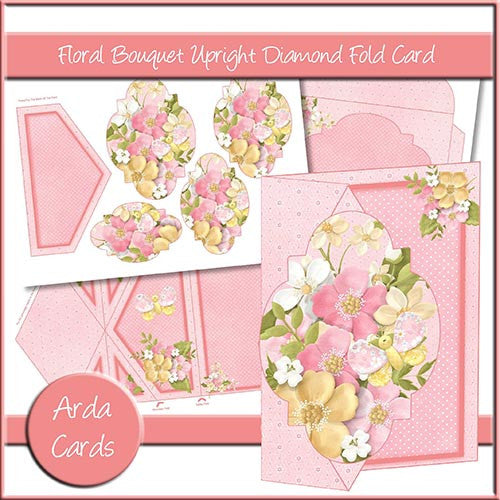 Floral Bouquet Upright Diamond Fold Card - The Printable Craft Shop