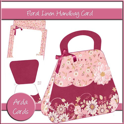 Floral Linen Handbag Card - The Printable Craft Shop