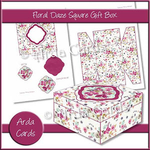 Floral Daze Square Printable Gift Box - The Printable Craft Shop