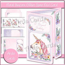 Load image into Gallery viewer, Floral Unicorn Offset Gatefold Card