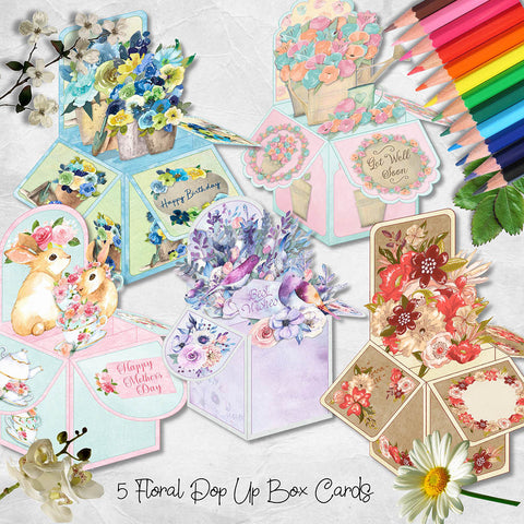 printable pop up box bundle of spring flowers