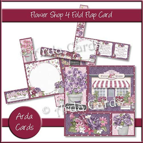 Flower Shop 4 Fold Flap Card - The Printable Craft Shop - 1