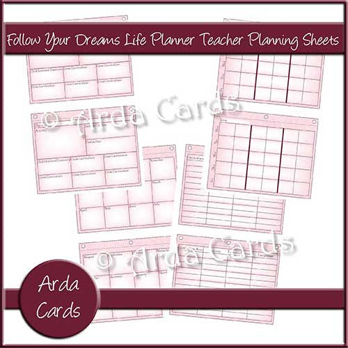 Follow Your Dreams Life Planner Printable Teacher Planning Sheets - The Printable Craft Shop