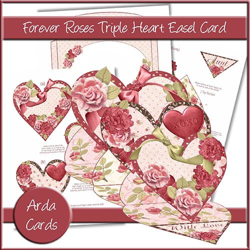 Forever Roses Triple Heart Easel Card - The Printable Craft Shop