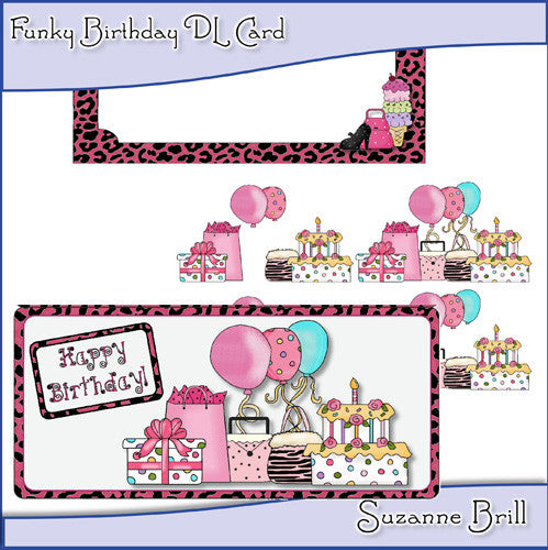 Funky Birthday DL Card - The Printable Craft Shop