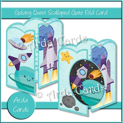 Galaxy Quest Scalloped Gatefold Card Making Kit - The Printable Craft Shop