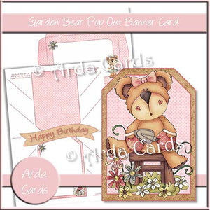 Garden Bear Printable Pop Out Banner Card - The Printable Craft Shop
