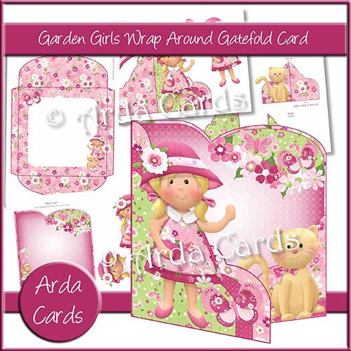 Garden Girls Wrap Around Gatefold Card - The Printable Craft Shop