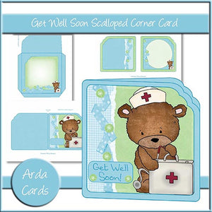 Get Well Soon Scalloped Corner Card - The Printable Craft Shop