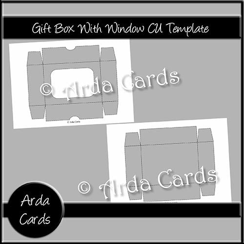 Gift Box With Window CU Template - The Printable Craft Shop