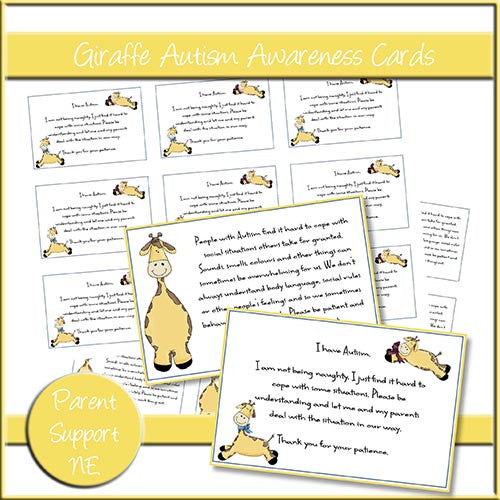 Giraffe Autism Awareness Cards - The Printable Craft Shop
