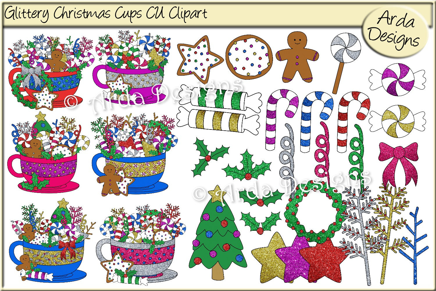 Glittered Christmas Cups CU Clipart