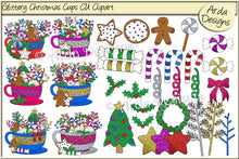 Load image into Gallery viewer, Glittered Christmas Cups CU Clipart