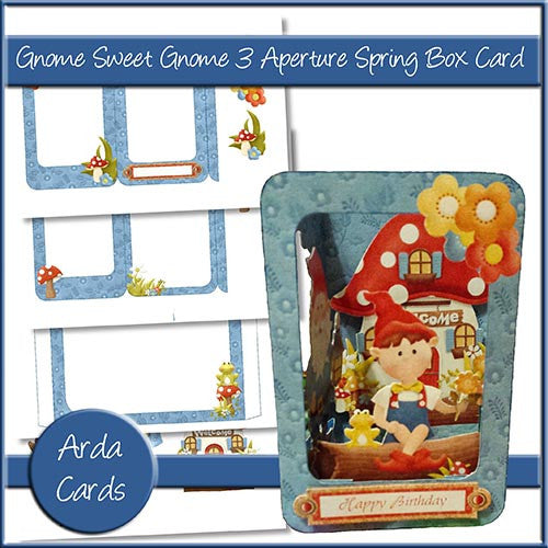 Gnome Sweet Gnome 3 Aperture Spring Box Card - The Printable Craft Shop