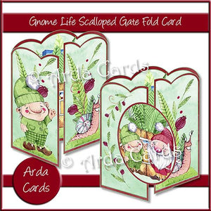 Gnome Life Scalloped Gatefold Card Making Kit - The Printable Craft Shop
