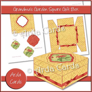 Grandma's Garden Square Printable Gift Box - The Printable Craft Shop
