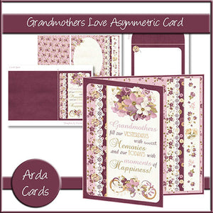 Grandmothers Love Asymmetric Card - The Printable Craft Shop