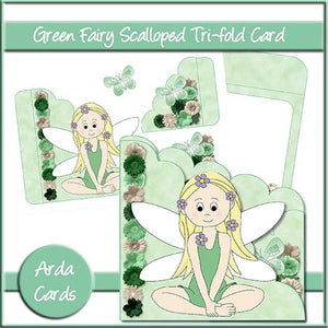 Green Fairy Scalloped Trifold Card - The Printable Craft Shop