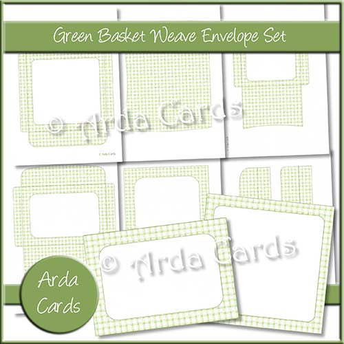 Green Basket Weave Envelope Set - The Printable Craft Shop