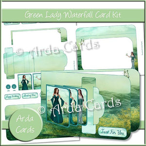 Green Lady Waterfall Card Kit - The Printable Craft Shop
