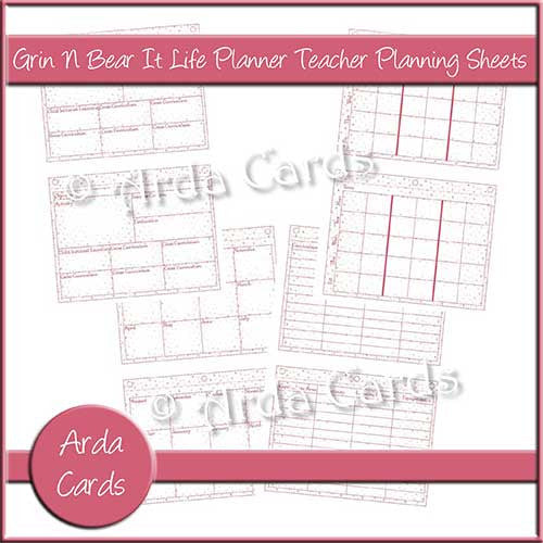 Grin N Bear It Life Planner Teacher Planning Sheets - The Printable Craft Shop