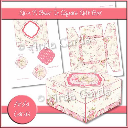 Grin & Bear It Square Printable Gift Box - The Printable Craft Shop