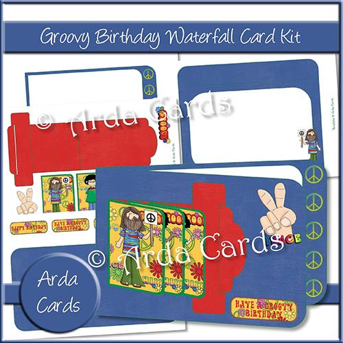 Groovy Birthday Waterfall Card Kit - The Printable Craft Shop