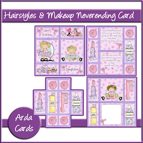 Hairstyles & Make Up Neverending Card - The Printable Craft Shop