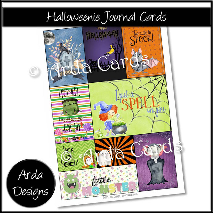 Halloweenie Journal Cards